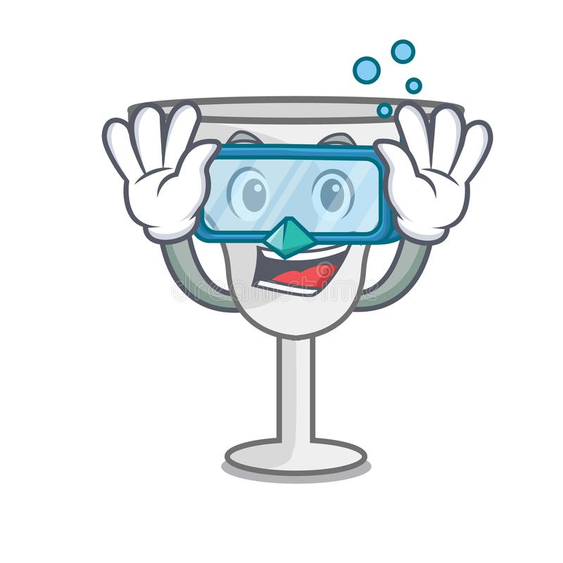 Diving margarita glass character cartoon. Vector illustration stock illustration