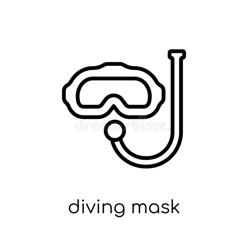 Diving mask icon. Trendy modern flat linear vector Diving mask i stock illustration