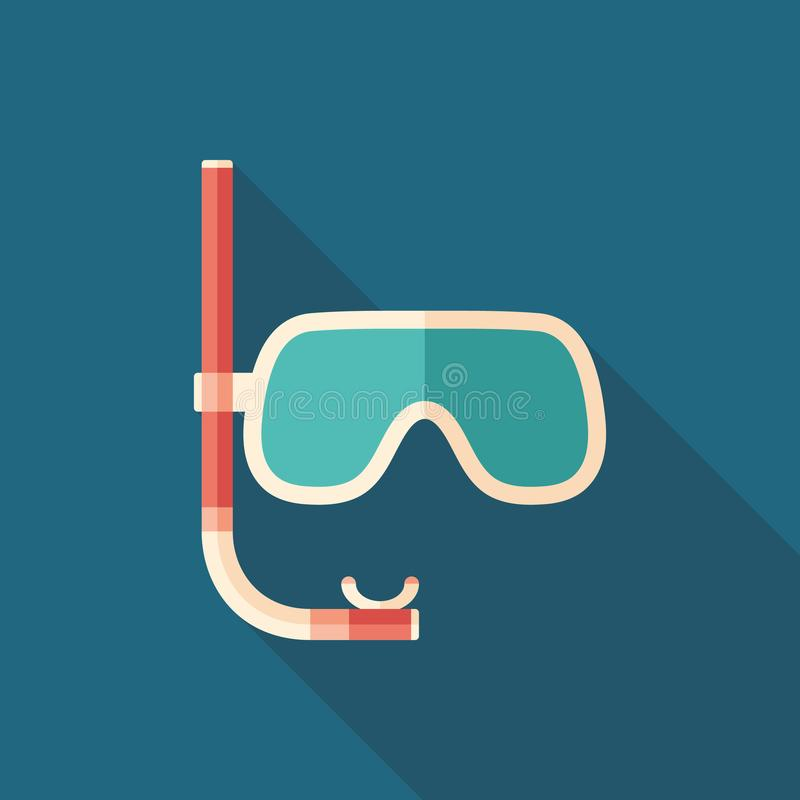 Diving mask with snorkel flat square icon with long shadows. vector illustration