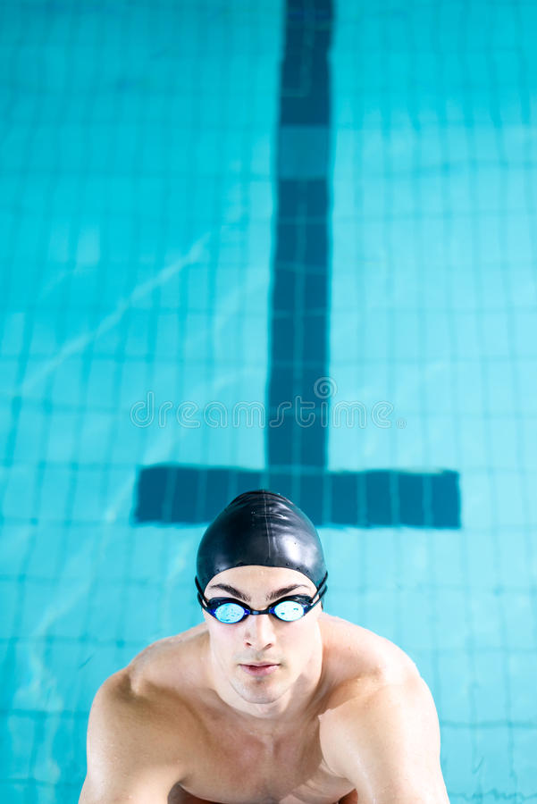 Diving off the starting block royalty free stock photos