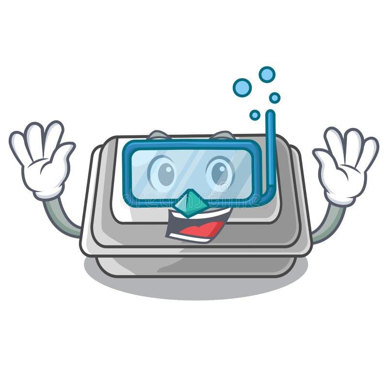 Diving plastic box in the mascot shape. Vector illustration stock illustration