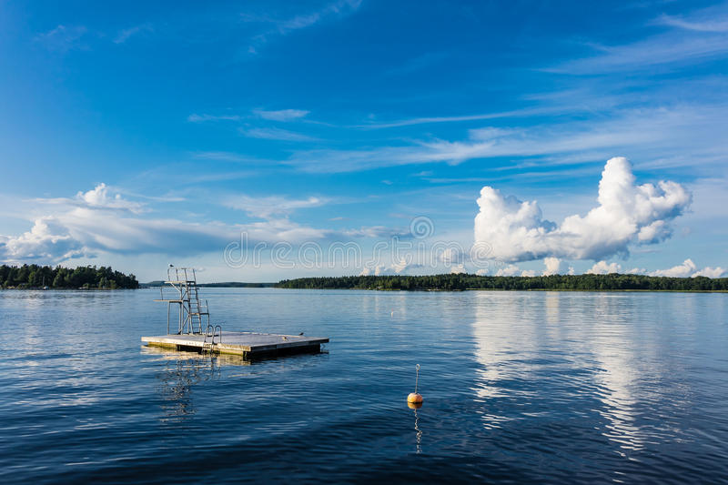 Diving platform on the Baltic Sea coast stock images