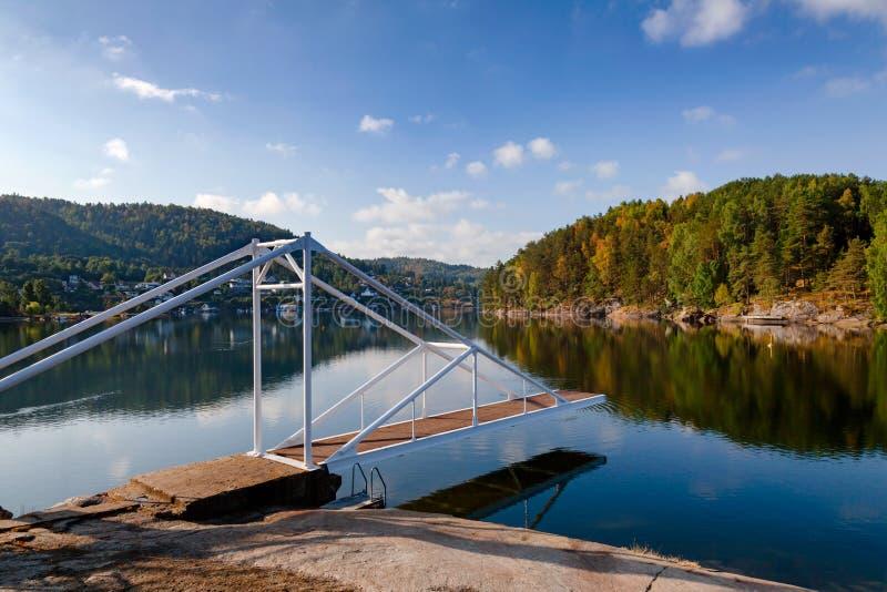 Diving platform in Olavsberget bathing area near Porsgrunn Telemark Norway Scandinavia stock image