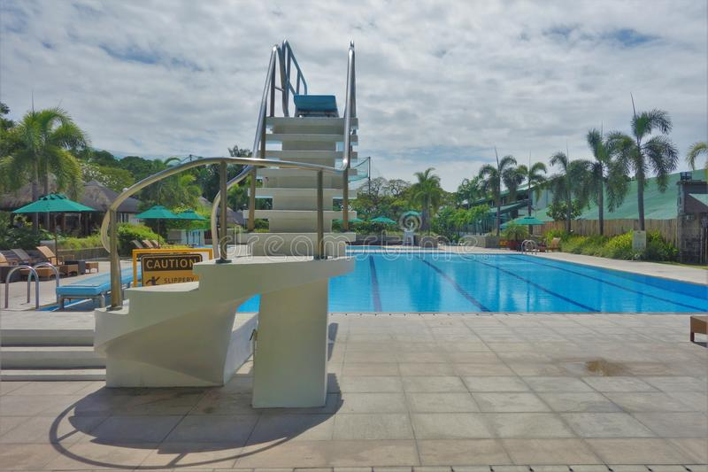 Diving Platform. By the swimming pool stock photos
