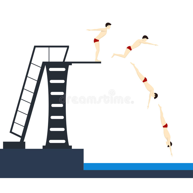 Diving into Pool Phases Jumping. Vector royalty free illustration