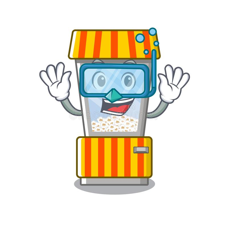Diving popcorn vending machine in a character. Vector illustration vector illustration
