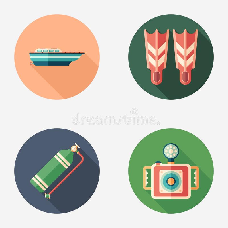 Diving and recreation flat round icon set. stock illustration