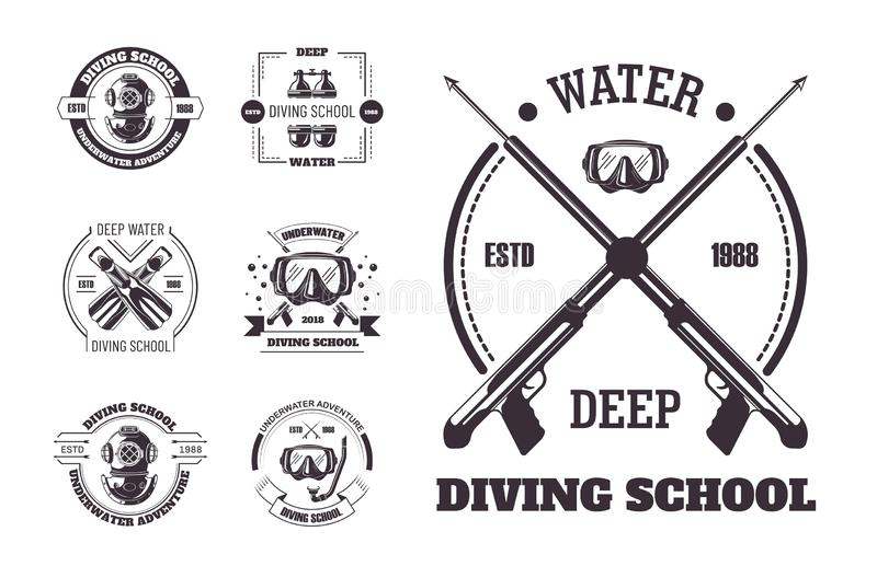 Diving school deep water promo monochrome emblems set. Club for sea bottom explorers with special masks or helmets and flippers isolated cartoon flat vector stock illustration