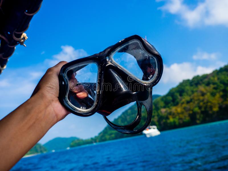 Diving Snorkel and Mask Isolated on the beach stock photo