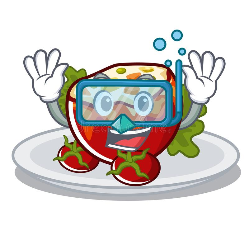 Diving stuffed tomatoes isolated in the mascot royalty free illustration