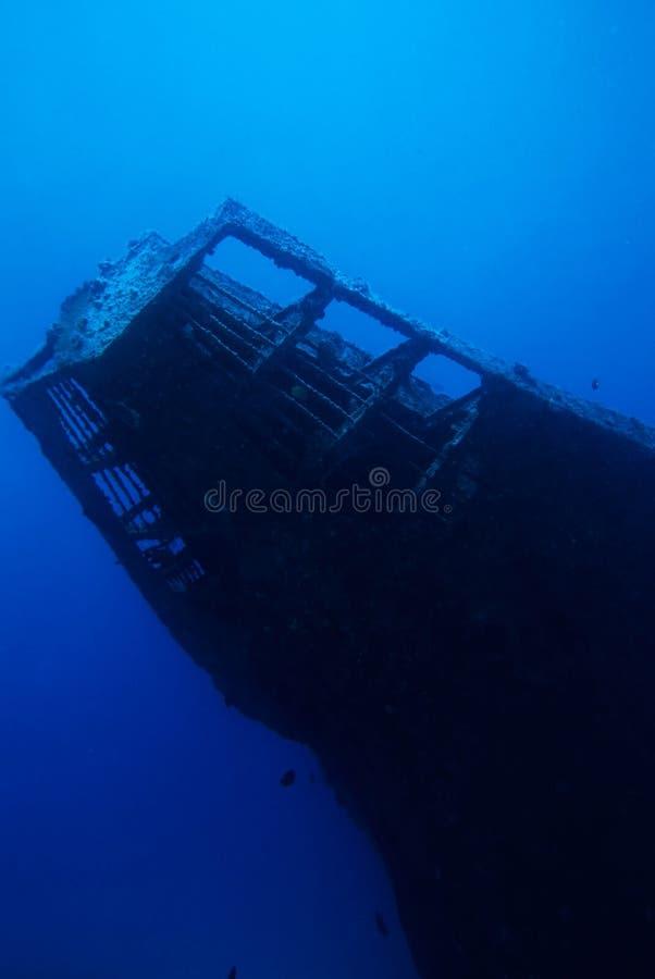 Diving Under Water. Adventure Diving on a sunken Ship wreck stock photos