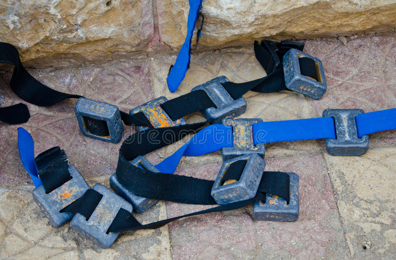 Diving Weights. On a belt royalty free stock photography