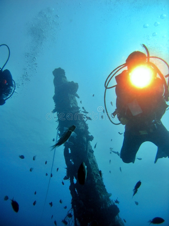 Diving On A Wreck royalty free stock photos
