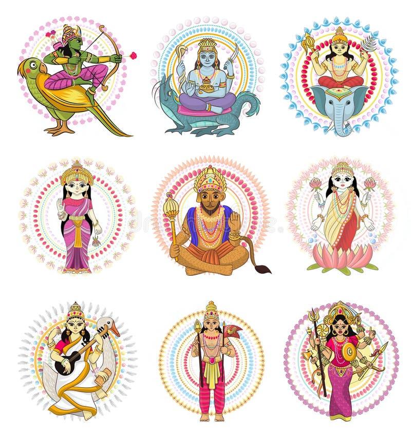 Divinidad india del hinduism del vector de dios de la diosa y del ídolo divino Ganesha en sistema del ejemplo de la India de la r stock de ilustración