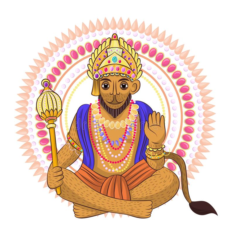 Divinidad india del hinduism del vector de dios de la diosa y del ?dolo divino Ganesha en sistema del ejemplo de la India de la r ilustración del vector