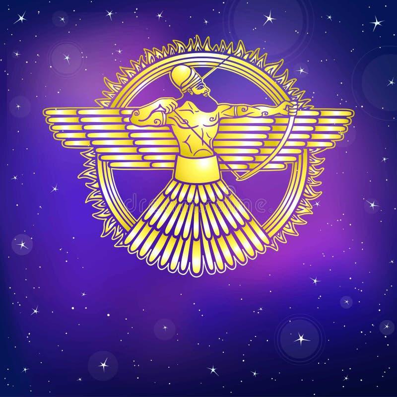 Divinità alata Assyrian antico Carattere di mitologia sumerica illustrazione vettoriale