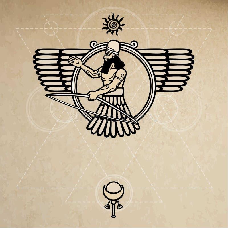 Divinità Assyrian antica illustrazione di stock