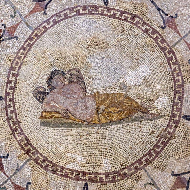 Divinità di Hypnos di sonno, ` romano dei mosaici del ` del museo, Risana, baia di Boca-Cattaro, Montenegro fotografia stock