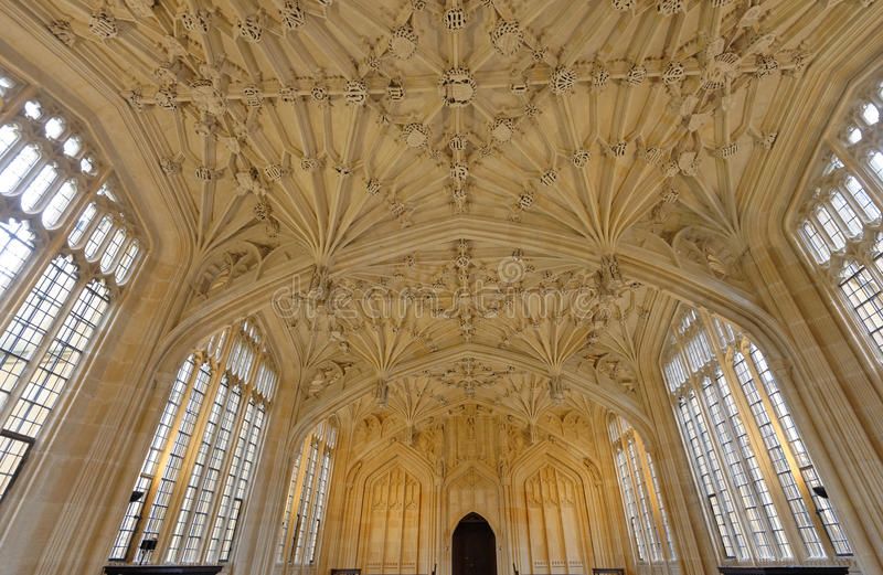 Divinity school, oxford, england. Image taken of the interior of the divinity hall ceiling and windows in the Bodleian library as featured in the harry potter stock photo