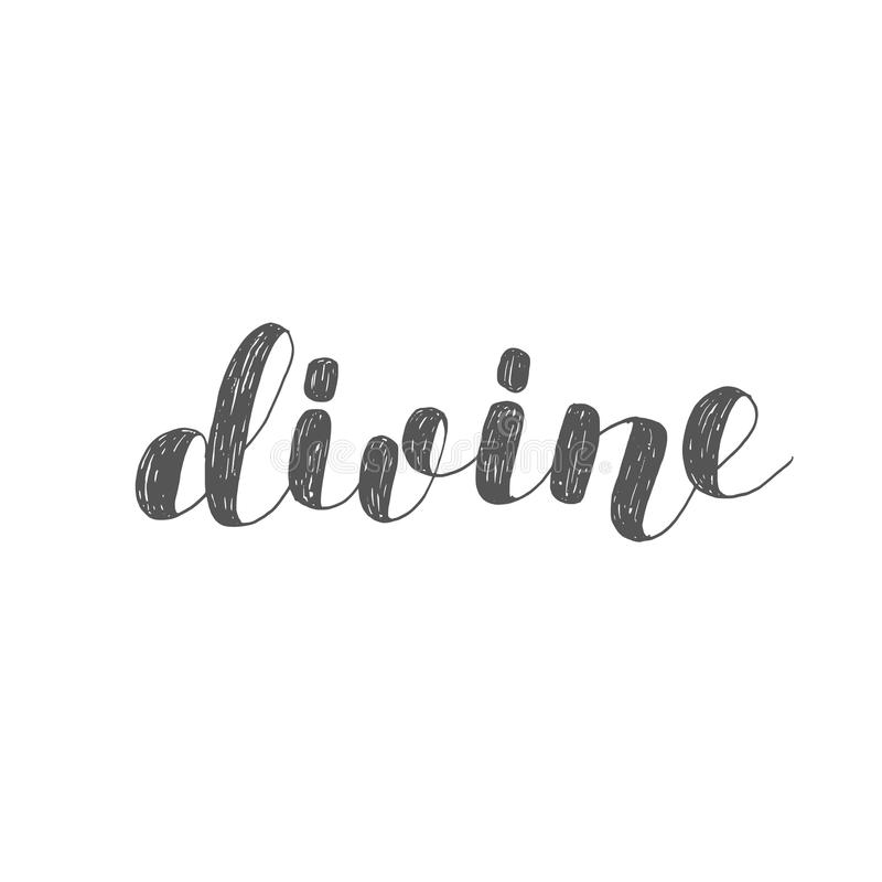 divino Ejemplo de las letras del cepillo stock de ilustración