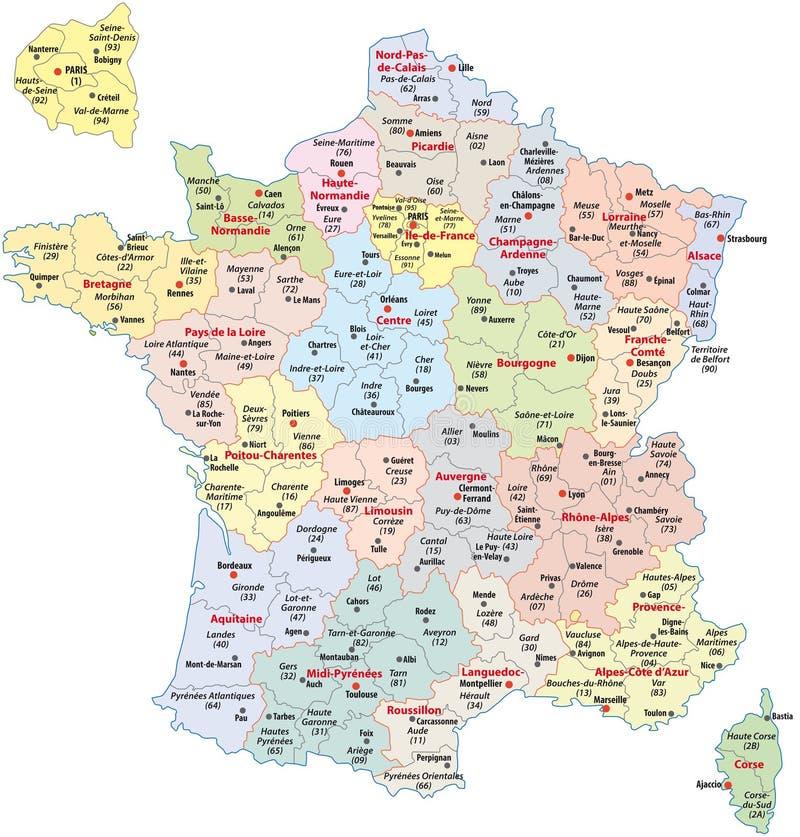Divisões administrativas de France ilustração do vetor