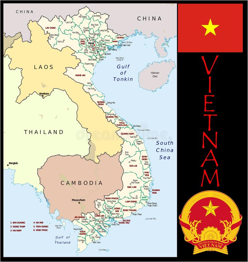 Divisões administrativas de Vietname ilustração royalty free