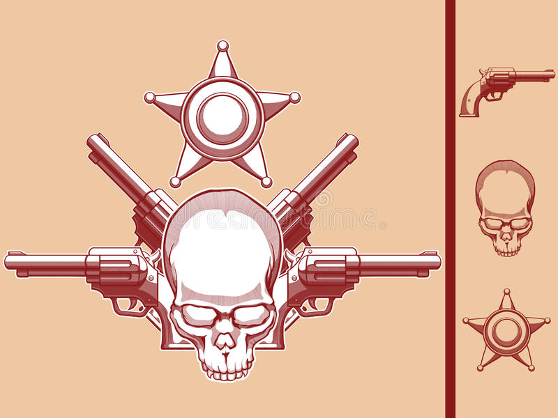 Divisa del oeste salvaje del cráneo, del revólver y del sheriff stock de ilustración