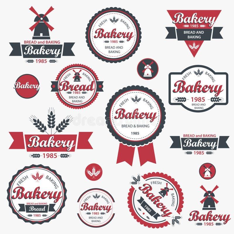 Divisas y escrituras de la etiqueta retras de la panadería de la vendimia. imagen de archivo