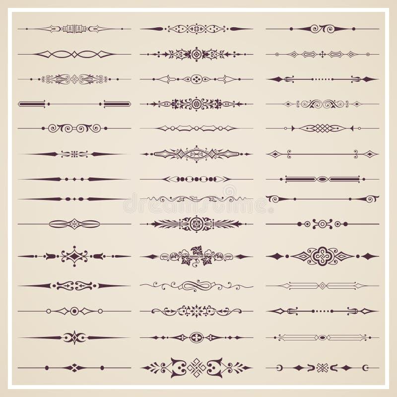 Diviseurs calligraphiques décoratifs pour la décoration de conception et de page - ensemble de vecteur images stock