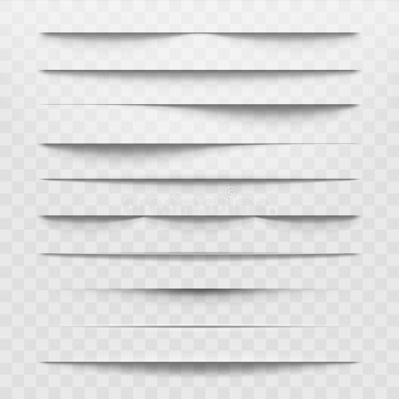 Diviseurs d'isolement d'ombre sur le fond transparent Les ombres horizontales ont jeté par l'illustration de papier de vecteur de illustration stock