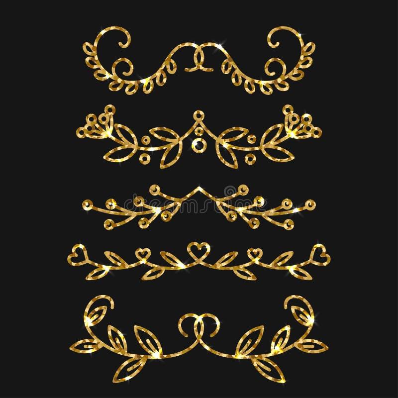 Diviseurs réglés Conception fleurie d'or de vecteur Flourishes d'or illustration libre de droits
