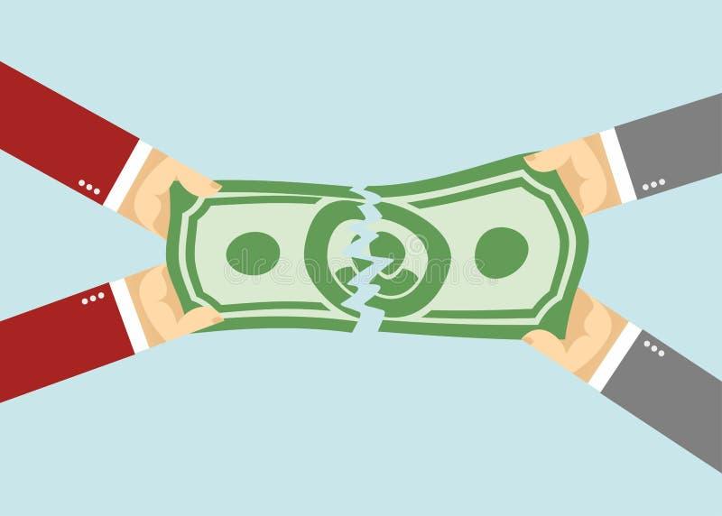 Divisez l'argent déchiré entré Les mains ont tiré des dollars illustration libre de droits