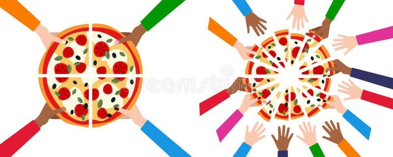 División de la pizza en 4 o 16 rebanadas y amigos ilustración del vector