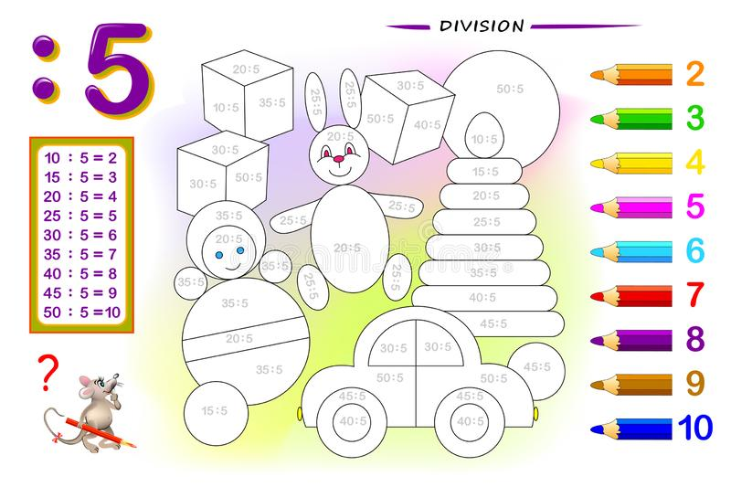 Division by number 5. Math exercises for kids. Paint the picture. Educational page for mathematics book. Printable worksheet for children textbook. Back to royalty free illustration