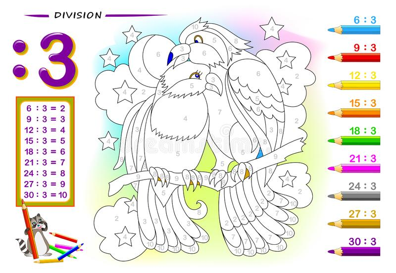 Division by number 2. Math exercises for kids. Paint the picture. Educational page for mathematics book. Printable worksheet for children textbook. Back to stock illustration