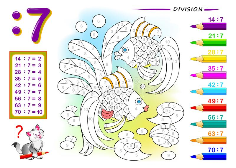 Division by number 7. Math exercises for kids. Paint the picture. Educational page for mathematics book. Printable worksheet for children textbook. Back to vector illustration
