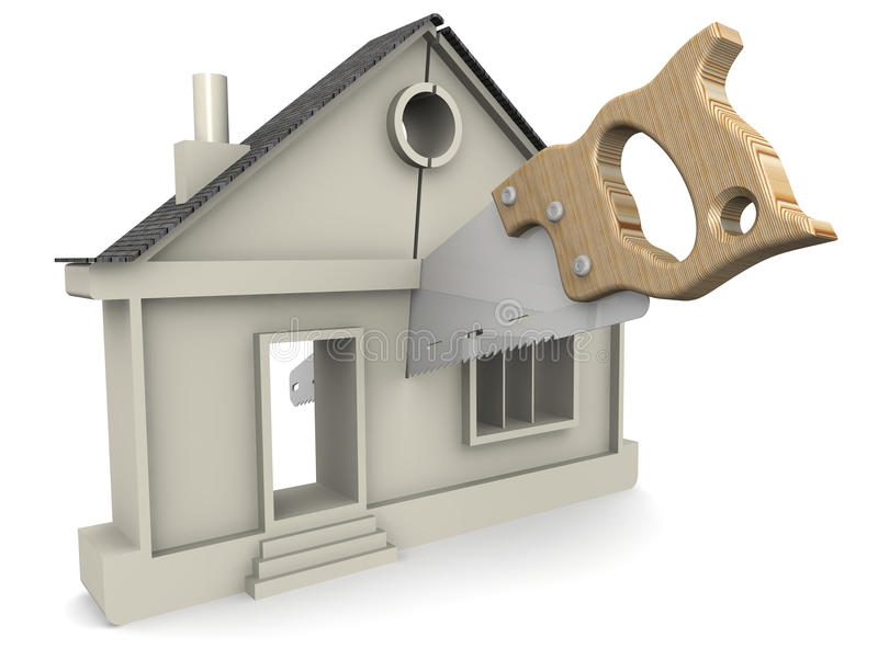 Division of Property. Concept. Symbol of the house is cut with a hacksaw. The concept of the division of property stock illustration