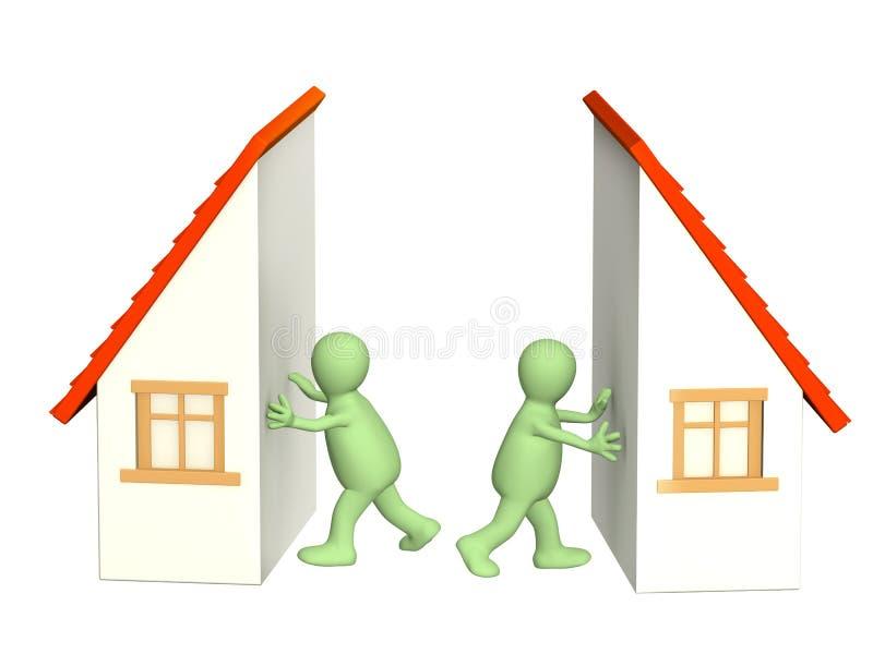 Division of property at divorce. Conceptual image - division of property at divorce vector illustration