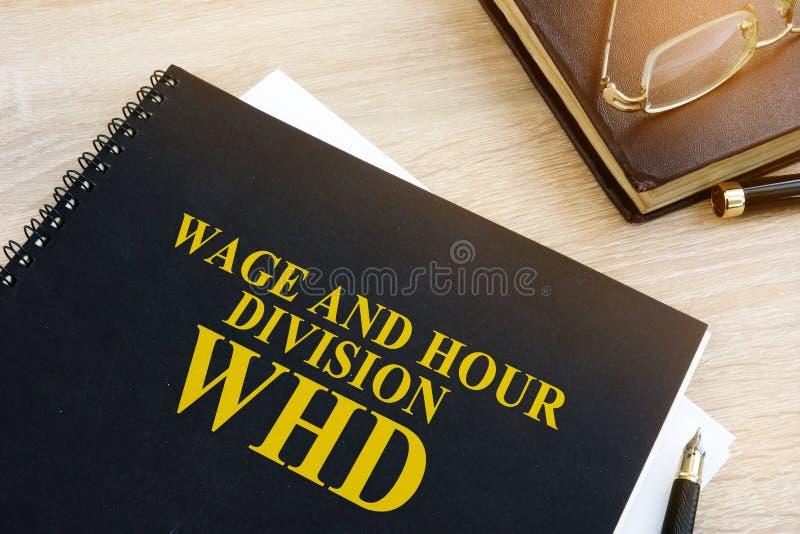 Division WHD de salaire et d'heure photographie stock