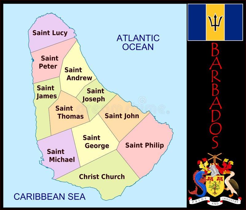 Divisiones administrativas de Barbados ilustración del vector