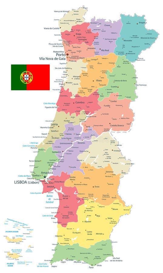 Divisiones administrativas del mapa de Portugal aisladas en blanco stock de ilustración
