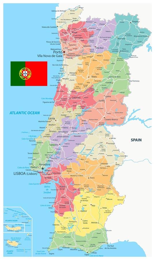 Divisiones administrativas y caminos del mapa de Portugal ilustración del vector