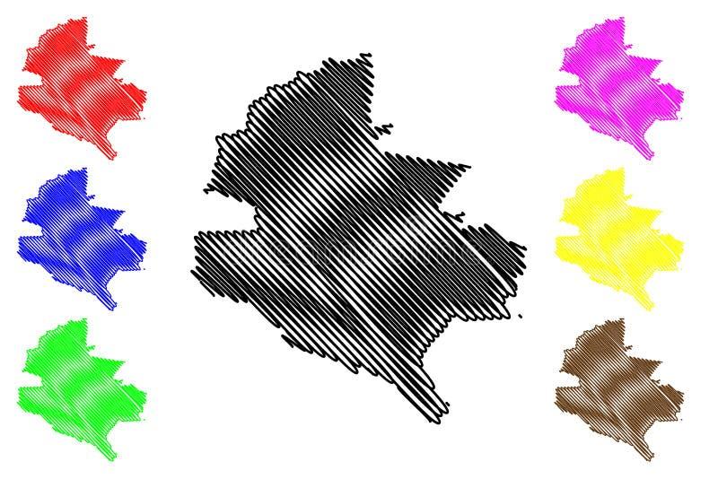 Divisioni amministrative della contea di Bucarest illustrazione di vettore della mappa di regione di sviluppo della Romania, Bucu illustrazione vettoriale