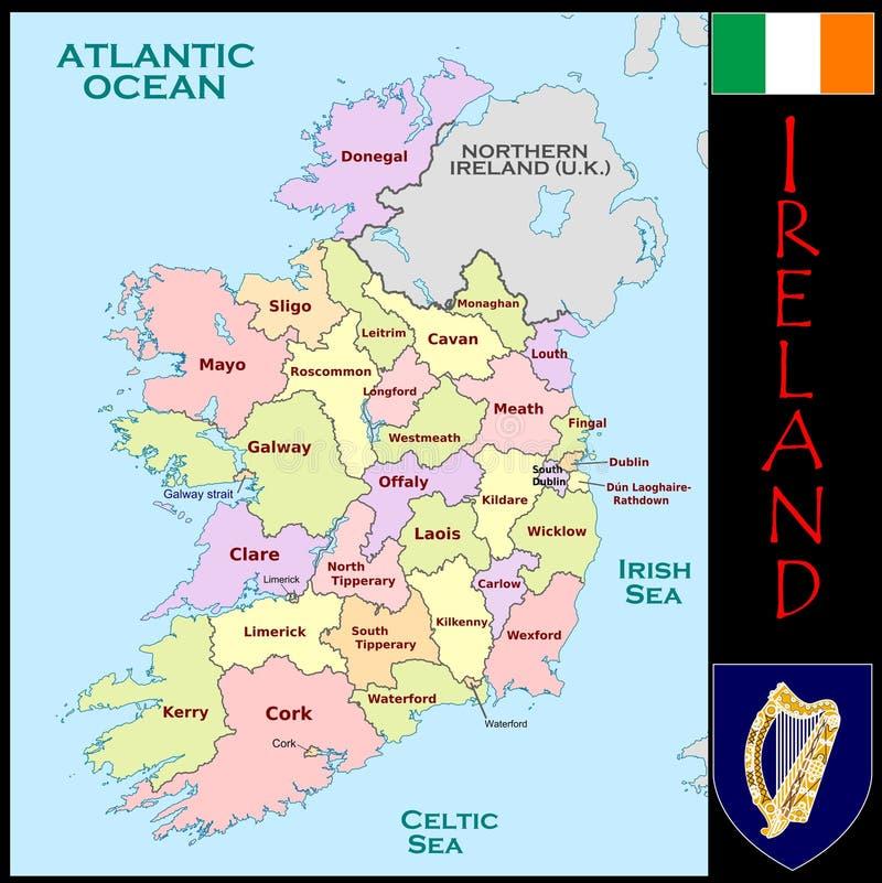 Divisions administratives de l'Irlande illustration libre de droits