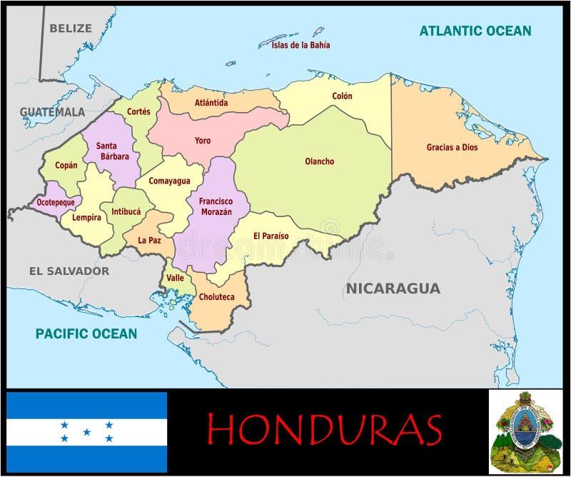 Divisions administratives du Honduras illustration stock