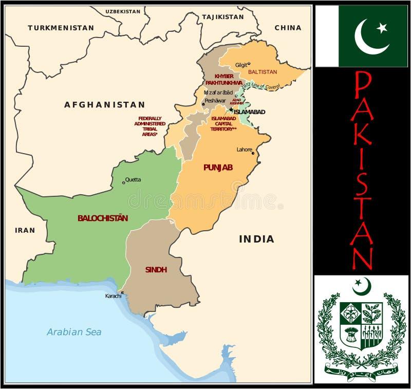 Divisions administratives du Pakistan illustration stock