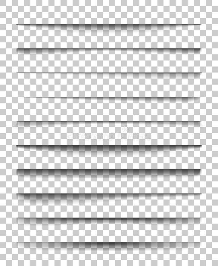 Divisor da página com sombras transparentes Grupo de vetor da separação das páginas isolado Sombra realística transparente para a ilustração do vetor