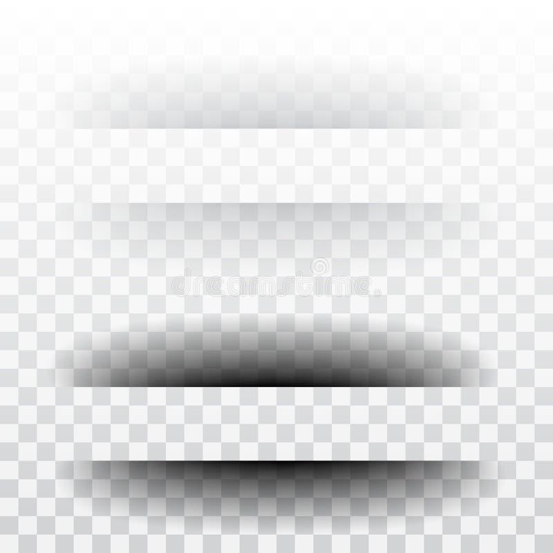 Divisor de la página con las sombras transparentes aisladas Sistema del vector de la separación de las páginas ilustración del vector