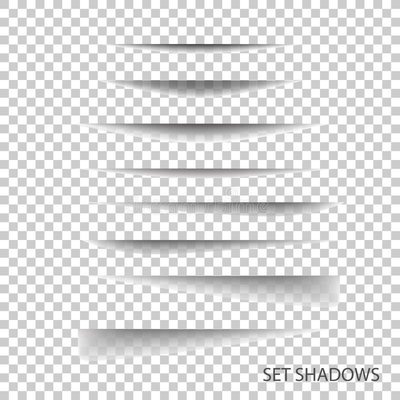 Divisor de la página Sistema de papel realista transparente del efecto de sombra ilustración del vector