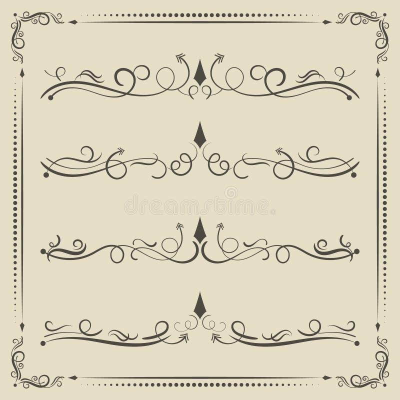 Divisor encrespado calligrpahic del vector y elementos decorativos stock de ilustración